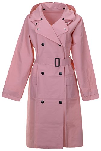 QZUnique Women's Lightweight Long Raincoat with Belt Waterproof Packable Ponchos Jackets with Hood - Dress Coat Pink