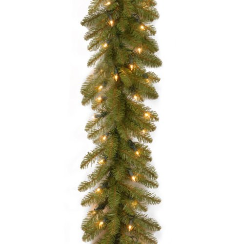 Wall Dunhill (National Tree 9 Foot by 10 Inch Dunhill Fir Garland with 100 Clear Lights (DU-9ALO-1))