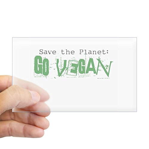CafePress Go Vegan! Rectangle Sticker Rectangle Bumper Sticker Car Decal