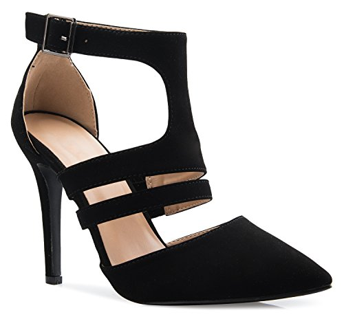 OLIVIA K Women's Ankle Strap Pointy Toe D'Orsay Stilleto Mid High Heels Sexy Cut Out ()