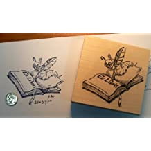 Ex Libris Bookworm rubber stamp WM P30