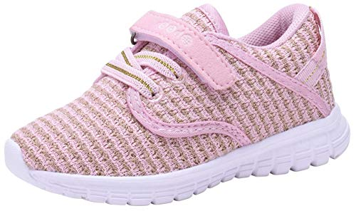 (COODO CD3001 Little Kids' Lightweight Sneakers Girl's Casual Sport Shoes PINK-11)