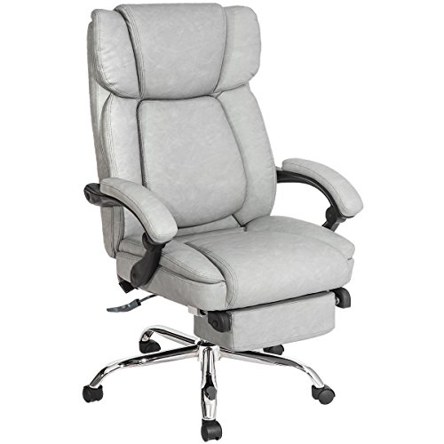 Merax Inno Series Executive High Back Napping Chair with Ajustable Pivoting Lumbar and Padded Footrest for Home and Office (Gray) (Elegant Office Chairs)