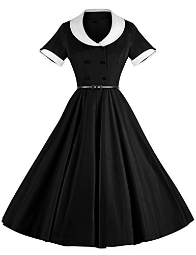 50s Style Clothing (GownTown 1950s Vintage Short Sleeve Rockabilly Swing Dress)