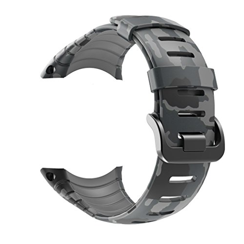 Suunto Core Strap, Rubber Replacement Watch Band for Suunto Core SS014993000,Grey Camouflage