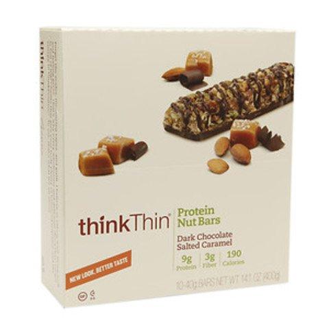 thinkThin Protein Nut Bar, Dark Chocolate Salted Caramel, 1.41-Ounce bar ( Family Pack of 4) thinkThin-jn by thinkThin