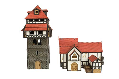 War World Gaming Medieval Town Guard Tower and Manor House (Painted / unpainted) - 28mm Scale Fantasy Wargame Model Terrain