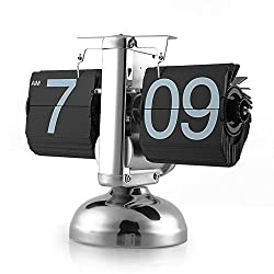 Retro Flip Over Table Clock, Antique Desk Vintage Clock Single Scale Digital Stand Modern Gift Home Office Decor (Color : Black, Size : 19.5x17cm)