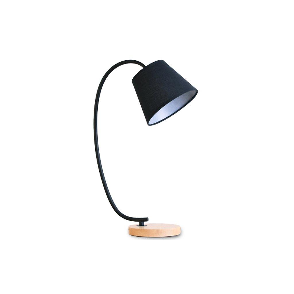 Modeen einfache solide holz tischlampe kreative eisen büro lernen schreibtisch schlafzimmer nacht augenschutz schreibtisch licht, E27 lichtquelle (Farbe   schwarz)