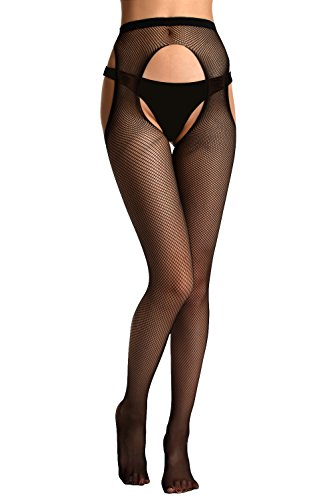 Florboom Womens Fishnet Suspender Crotchless Tights Open Crotch Pantyhose ()