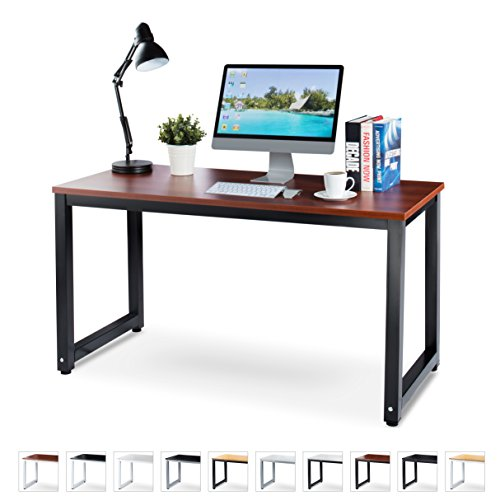 "Cheap Office Computer Desk – 55"" Teak Laminated Wooden Particleboard Table and Black Powder Coated Steel Frame – Easy Assembly – Work or Home – Tools and Instructions Included – by Luxxetta"
