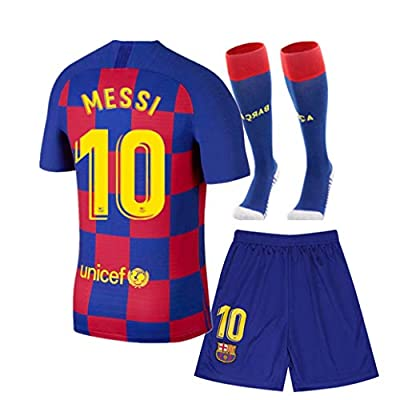 Barcelona 2019/2020 Season Kids/Youth Home #10 Messi Soccer T Shirt Shorts Socks Red/Blue