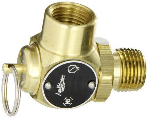(Apollo Valve 10-512 Series Brass Safety Relief Valve, ASME Steam, 50 psi Set Pressure, 1/2