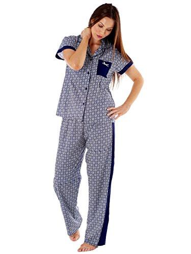 Inspiraciones señoras Mia pura del cortocircuito del algodón de manga larga pijama de LN432 Impresión Azul Marino