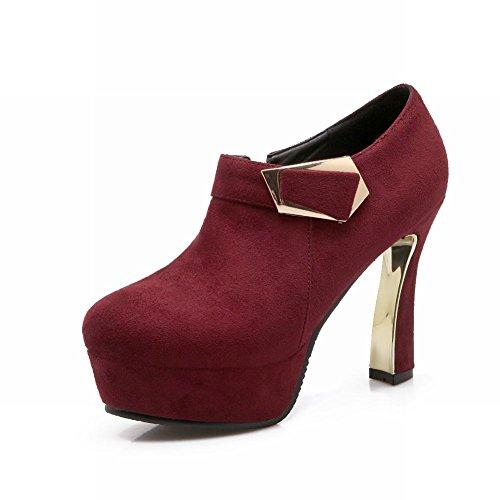Carolbar Womens Fashion Zip Decorative Buckle High Heel Platform Dress Ankle Boots Wine Red EBlTS8B8d
