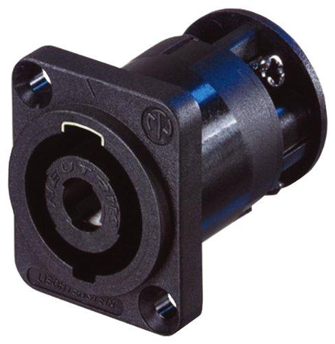 Neutrik NL4MP-ST 4-Pole Chassis Connector, Black D-Size Flange
