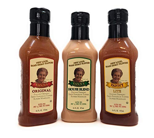 Fanny Mencoboni's Italian Dressing Bundle. Includes 16 oz Bottles of House Blend, Original and Lite. Gluten Free and Keto/Low Carb