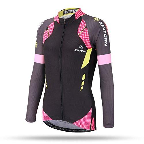 Fleece Jersey Jacket (DuShow Women Thermal Fleece Cycling Jersey Shirt Long Sleeves Winter Jacket Top(S,Black))