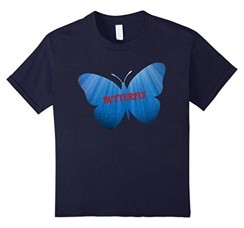 Kids green blue butterfly t shirt, gift girl boy mom butter fly 4 Navy