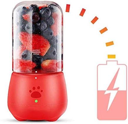 Vaso de jugo eléctrico Portátil Fruta doméstica Pequeño Mini exprimidor multifunción con tapa de vaso de jugo Pequeño y ligero Potente (Color: rojo)