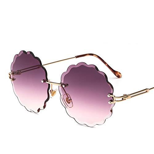 Beauty-OU Rimless Round Sunglasses Women 2019 Retro Gradient Metal Sun Glasses Brand Designer Fashion Lunette De Soleil Femme,2