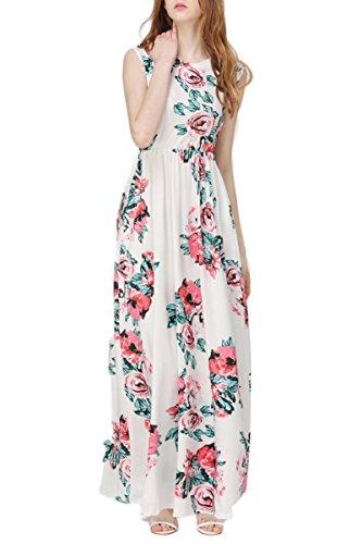 OMZIN Vestido Largo de Manga Corta Imperio con Estampado Floral para Mujer S-3XL Blanco Sin Mangas