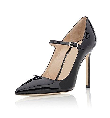 Bout Escarpins Noir Edefs Fermé Talons Janes Aiguilles Lanières Hauts Femme Mary Pointure Chaussure zndAqH
