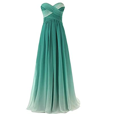 Gradient Long A Line Chiffon Prom Evening Dresses Party Women Formal Gowns