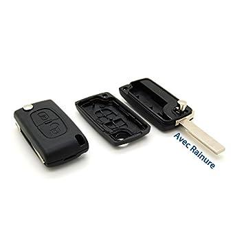Peugeot - Funda para llave de coche automática con 2 botones y filo (modelos 207, 307, 407 y 807)