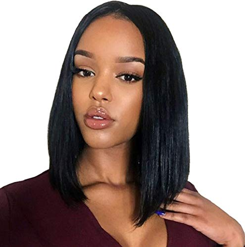 Short Bob Wig,Silky Straight Middle Part Synthetic Full Wig for Women Shoulder Length Soft Silk Synthetic Natural Straight Synthetic Wigs JHKUNO (A Black) ()