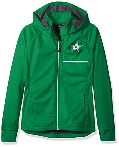 GIII For Her NHL Dallas Stars Adult Women Cut Back Soft Shell Jacket, XX-Large, Green