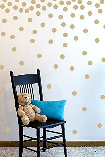 Brown Polka Dot Peel - Wall Decal Dots (200 Decals) | Easy to Peel Easy to Stick + Safe on Painted Walls | Removable Vinyl Polka Dot Decor | Round Sticker Large Paper Sheet Set for Nursery Room (Light Brown)