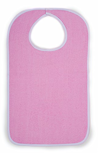 Comfort Finds Terry Cloth Adult Size Senior Bib Value Pack with Hook & Loop Closure - Elderly Men and Women Food Catcher Solutions (Pink, 12 Pack) ()