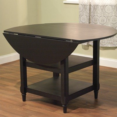 Target Marketing Systems Cottage Collection Round Double Drop Leaf Table with 2 Shelves, Black - Round Double Drop Leaf