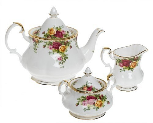 Royal Albert Old Country Roses 3-Piece Tea (Fine China Covered Sugar Bowl)