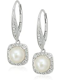 Sterling Silver Freshwater Cultured Pearl with White Topaz Lever Back Drop Earrings