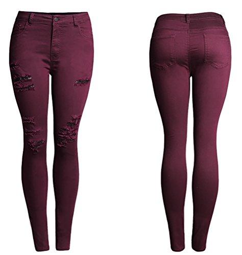 Baymate Mujer Talla Extra Vaqueros Cintura Alta Ripped Elásticos Delgado Pantalones Vino Rojo