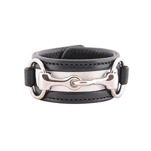 Equestrian Horse Snaffle Bit Two-Tone Black and White Leather Cuff Bracelet (Black/White) - Pony White Bracelet