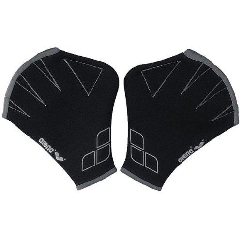 Arena Aquafit agua guantes de fitness, Negro/Gris, Mediano