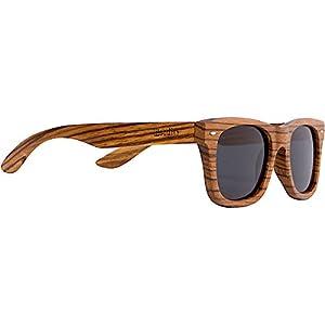 WOODIES Full Zebra Wood Sunglasses with Polarized Lens