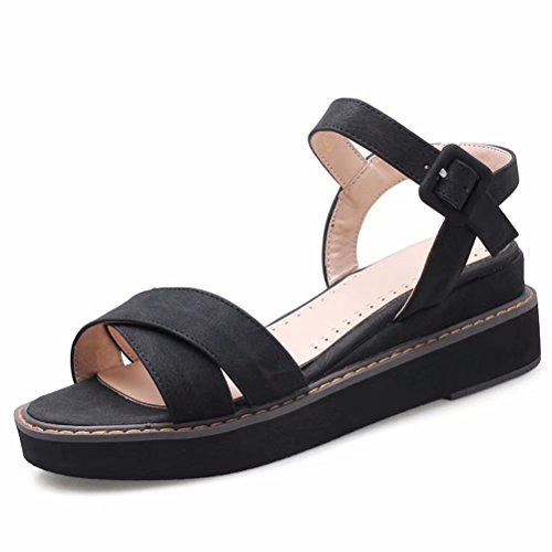 Platform Open Big Ankle Wedge Summer Toe Straps Strap Shoes Size Crisscross KingRover Sandals 1Black Women's Peep 8wPXtt