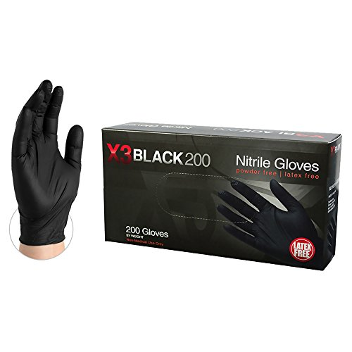 X3 Industrial Black Nitrile Gloves - 3 mil, Latex Free, Powder Free, Textured, Disposable, Small, BX3D42100-BX, Box of 200