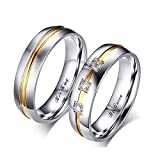 Beydodo Couples Ring Sets for Him and Her Stainless Steel Rings Promise Two-Tone Ring Engraved Her King and His Queen Women Size 10 and Men Size 8