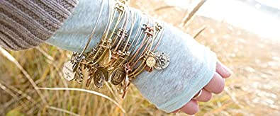 Angelica Brass April White Topaz Bangle Bracelet Adjust