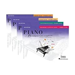 The Primer Level introduces the keyboard, note values, and the grand staff. Students play in Middle C Position and C Position through recognition of steps and skips, and learn letter names independent of finger number. Musicianship is built t...