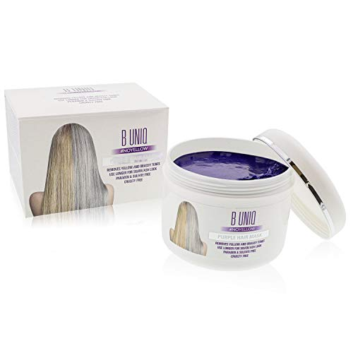 Long Hair Healthy. Purple Hair Mask For Blonde, Platinum & Silver Hair - Banish Yellow Hues: Blue Masque to Reduce Brassiness & Condition Dry Damaged Hair - Sulfate Free Toner - 7.27 Fl. Oz / 215 ml