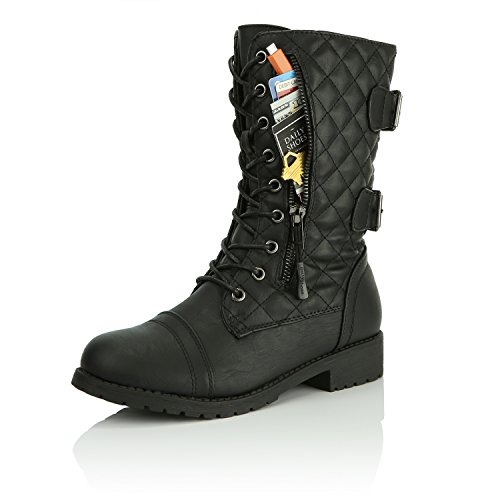 DailyShoes Women's Military Lace up Buckle Combat Boots Mid Knee High Exclusive Quilted Credit Card Pocket, Quilted Black Pu, 8 B(M) US ()