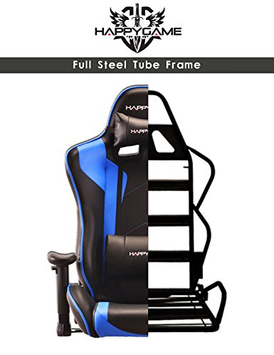 41TR9ui%2BUoL - HappyGame-PC-Gaming-Chair-and-Racing-Sport-Chair-with-Pillow-Leather-Swivel-Executive-Office-Chair-Highback-Racing-Style-Desk-Leather-Office-ChairBlue-OS7502