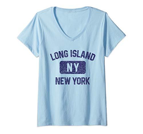 Womens Long Island Gym Style Distressed Navy Blue Print V-Neck T-Shirt