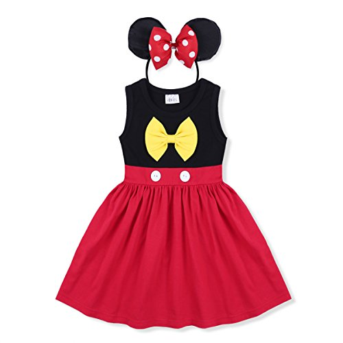 CHICTRY Baby Girls Children Christmas Party Ears Headband Costume Tutu Dress up Outfits Black&Red 12-18 Months - Comic Book Dot Costume